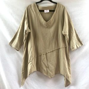 100% Cotton Asymmetrical Taupe Art Tunic Top